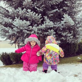 twins in snow